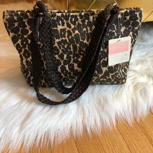 Lina Leopard Woven Shoulder Bag